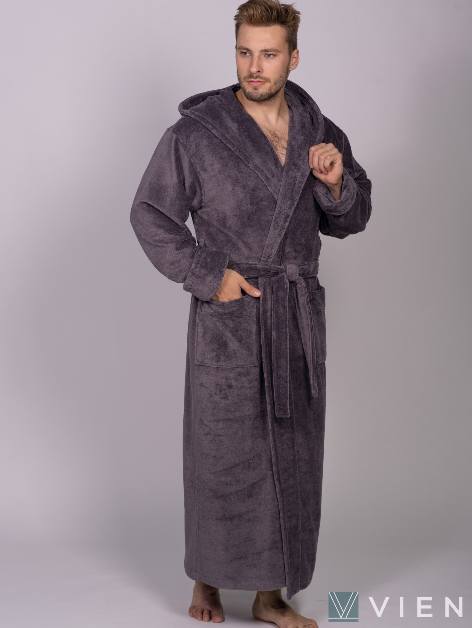 Мужской халат с капюшоном 702 Magistr мокко Wien