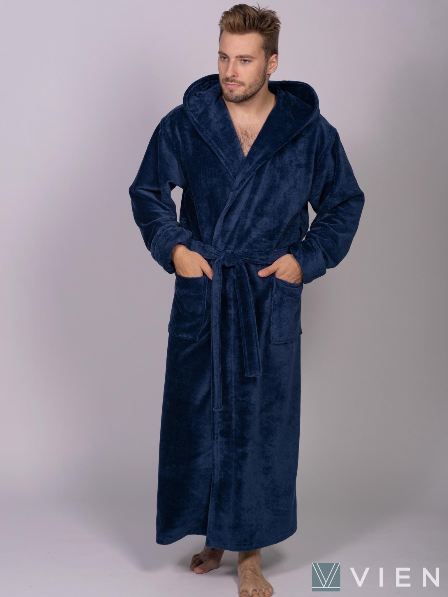 Мужской халат с капюшоном 702 Magistr синий Wien