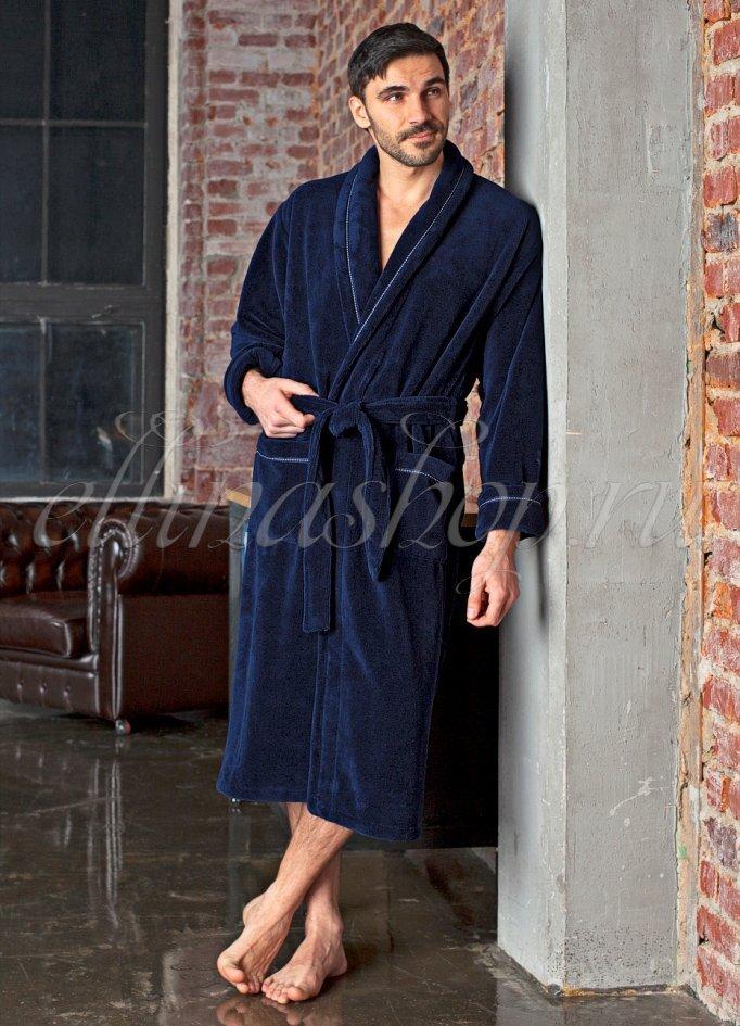 Daniel т.синий бамбуковый мужской халат Five Wien