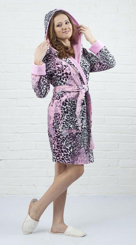 Леопард мини розовый женский халат Five Wien