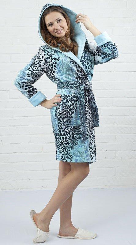Леопард мини бирюзовый женский халат Five Wien
