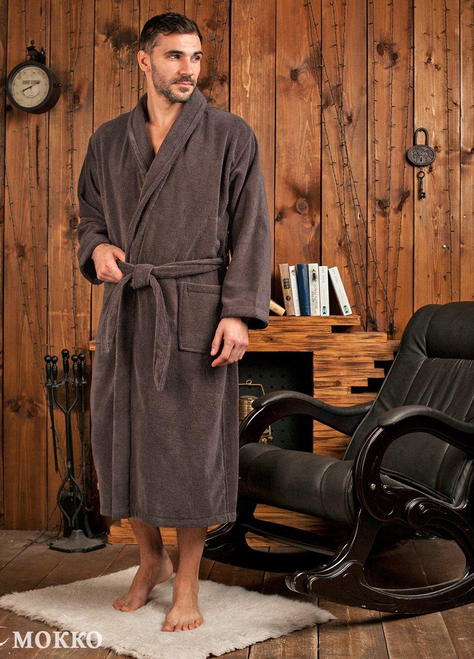 Мужской махровый халат из микрокоттона London мокко  FW