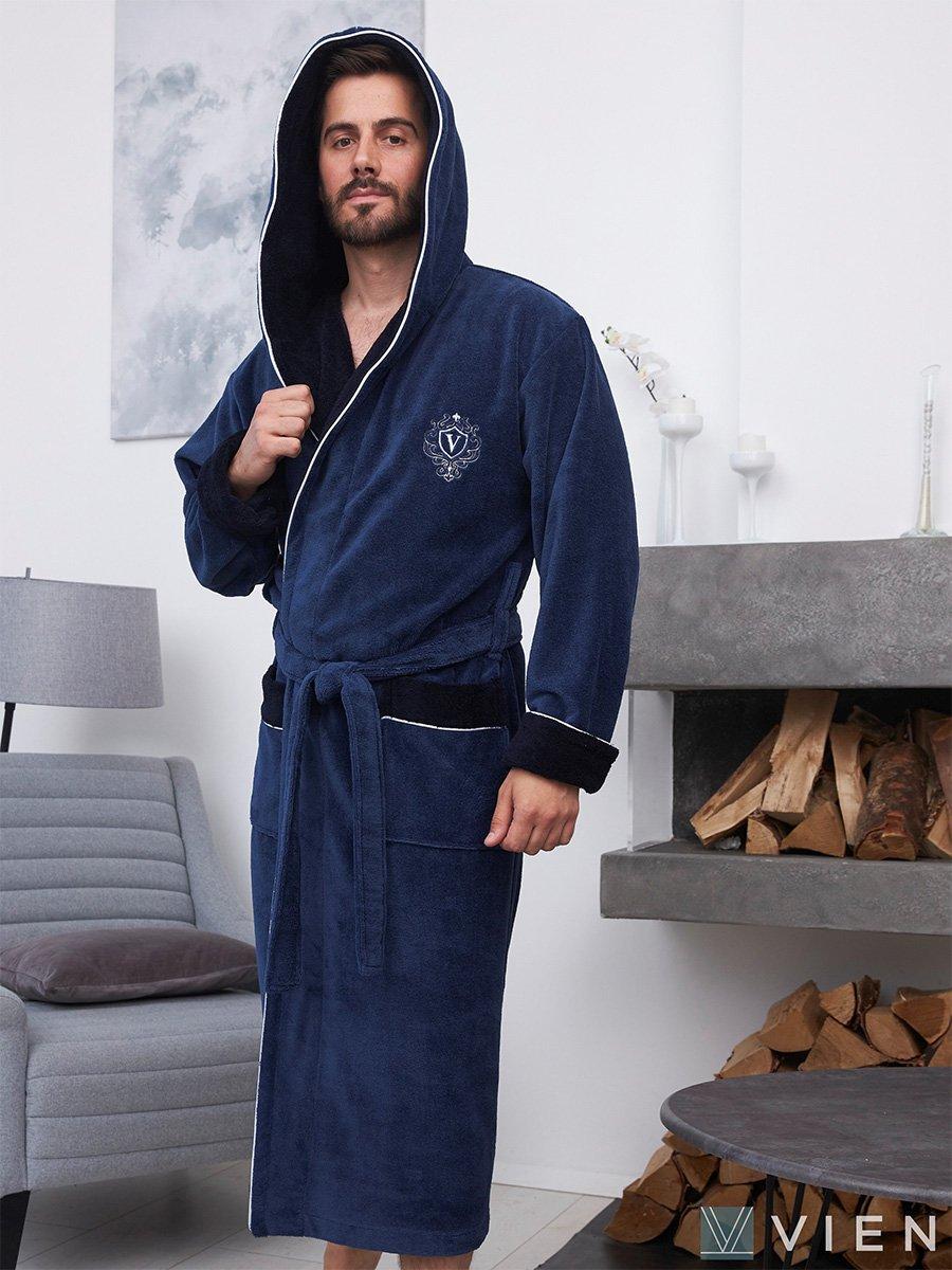 Длинный бамбуковый халат с капюшоном Lucas синий Five wien