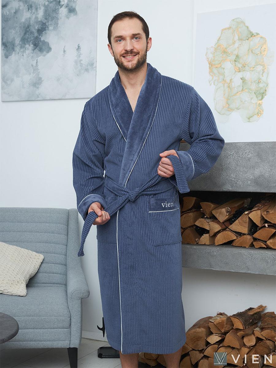 Мужской бамбуковый халат Mark 2 синий Five wien