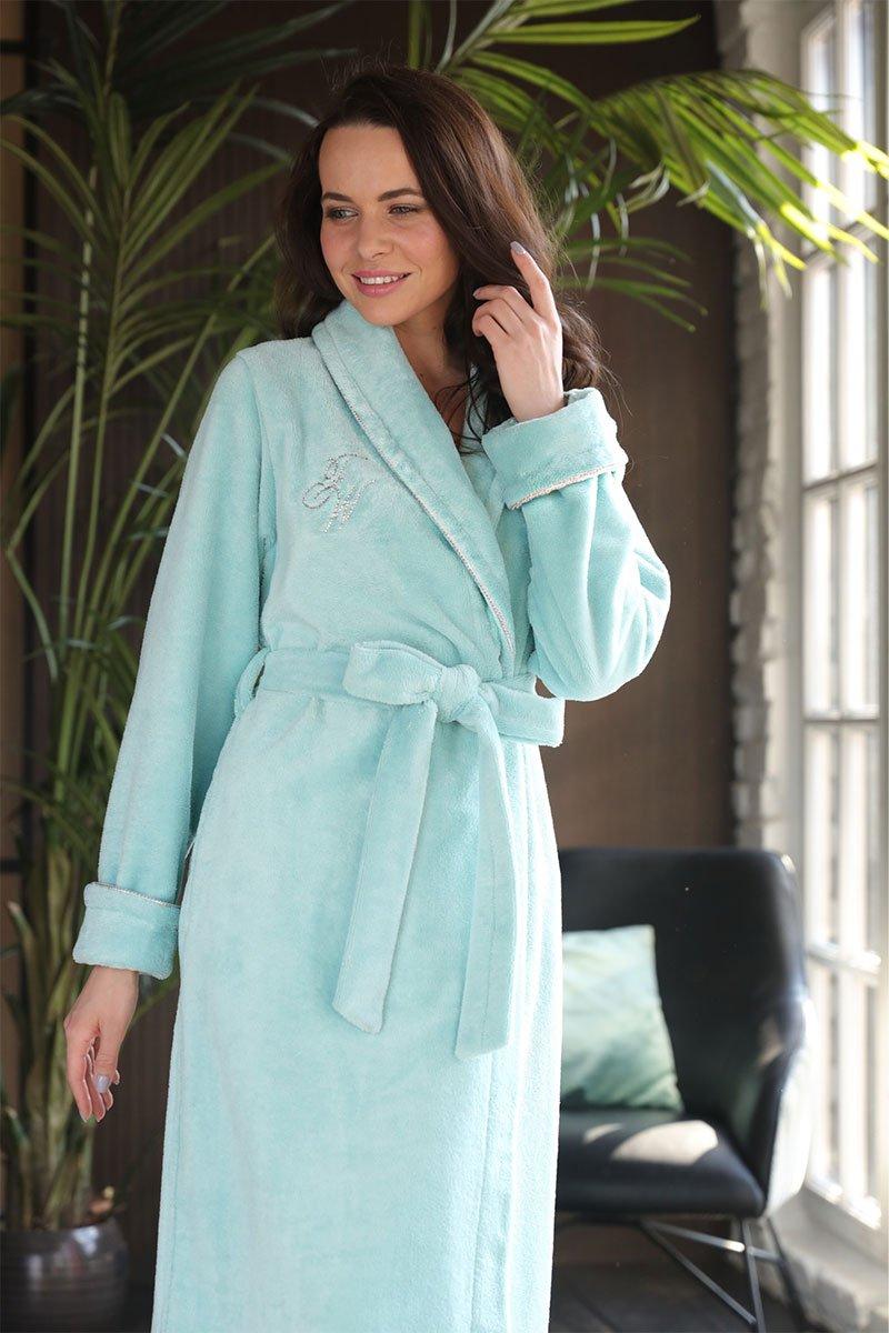 Женский бамбуковый халат Naomi бирюзовый Five Wien