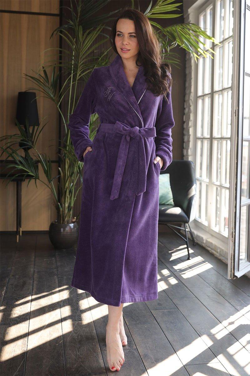 Женский бамбуковый халат Naomi фиолетовый Five Wien