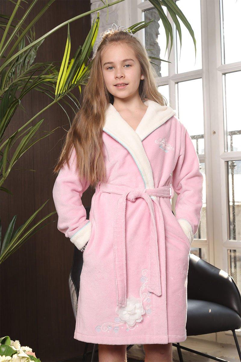 Детский халат с капюшоном 508 Princess розовый Five Wien