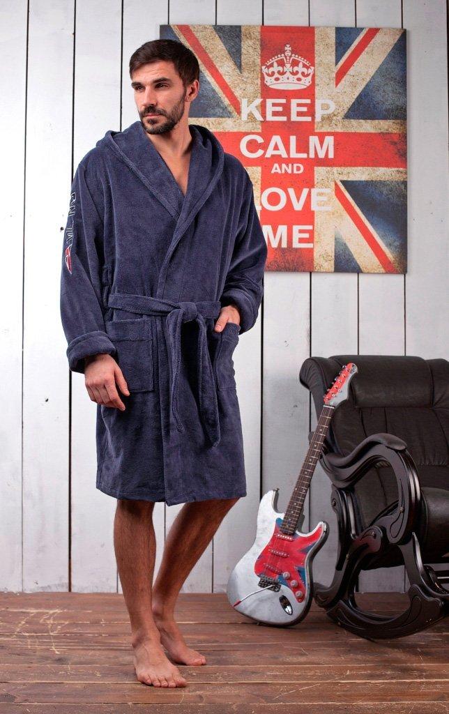 Мужской бамбуковый халат с капюшоном Royal Club серо-синий
