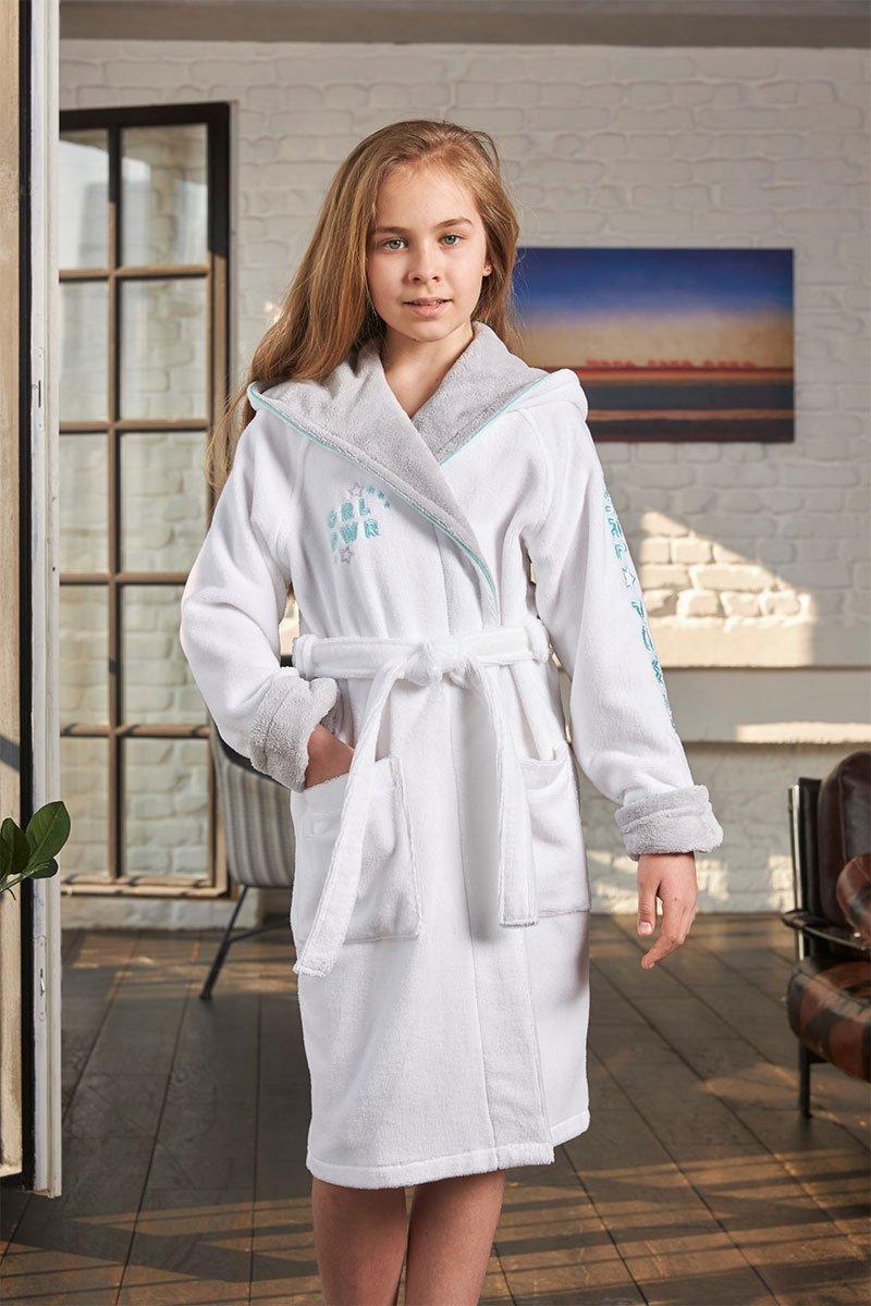 Детский халат с капюшоном 510 Sport Girl белый Five Wien