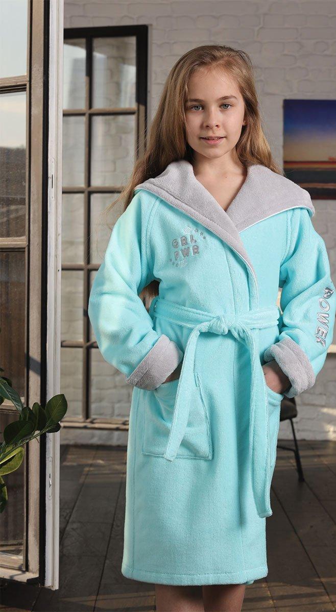 Детский халат с капюшоном 510 Sport Girl бирюзовый Five Wien