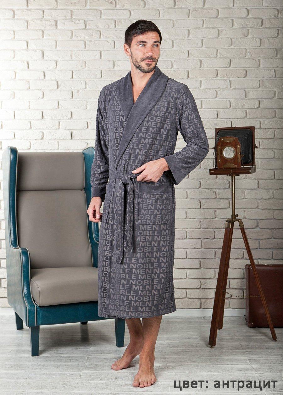 Vipmen антрацит жаккардовый мужской халат из бамбука FW