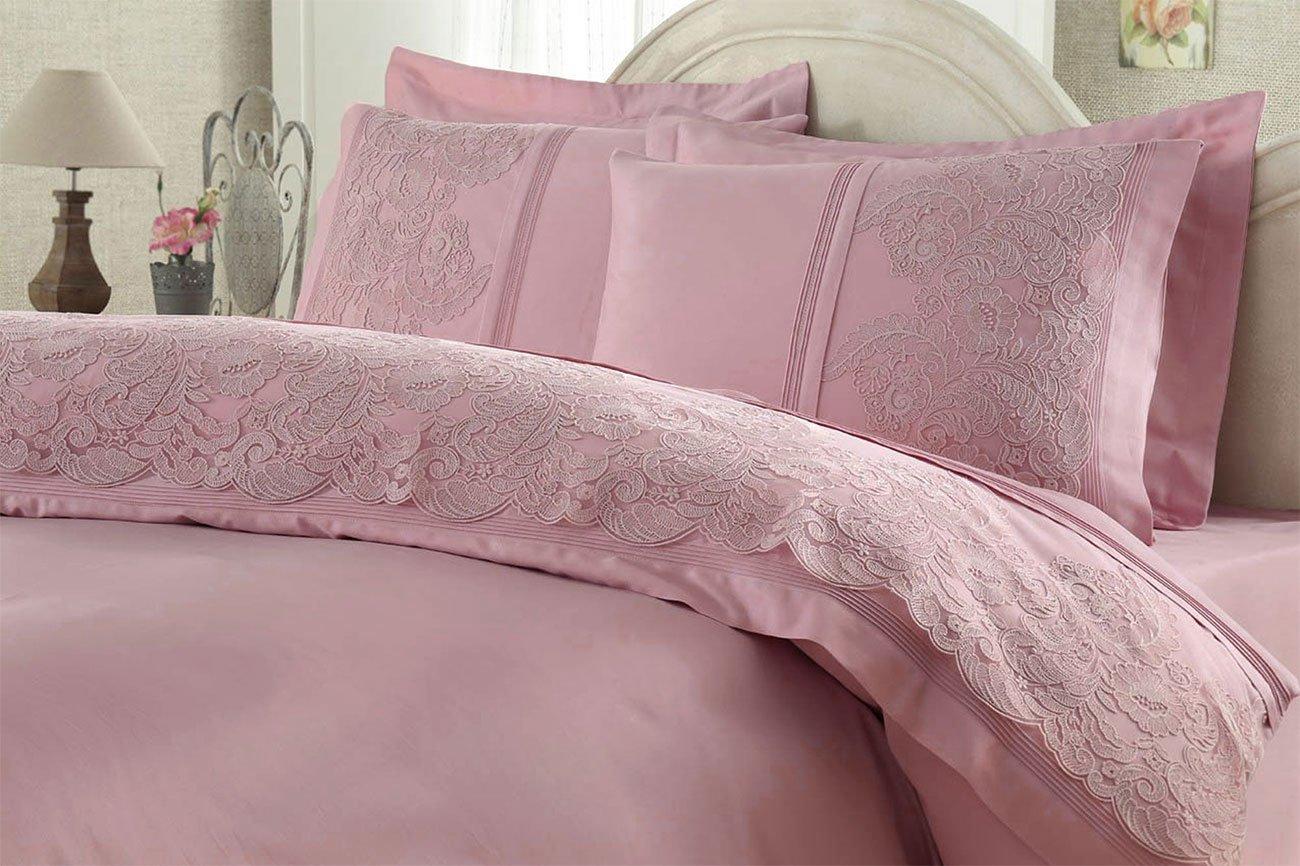 Сатиновый комплект белья с кружевом Elmas чайная роза Gelin Home