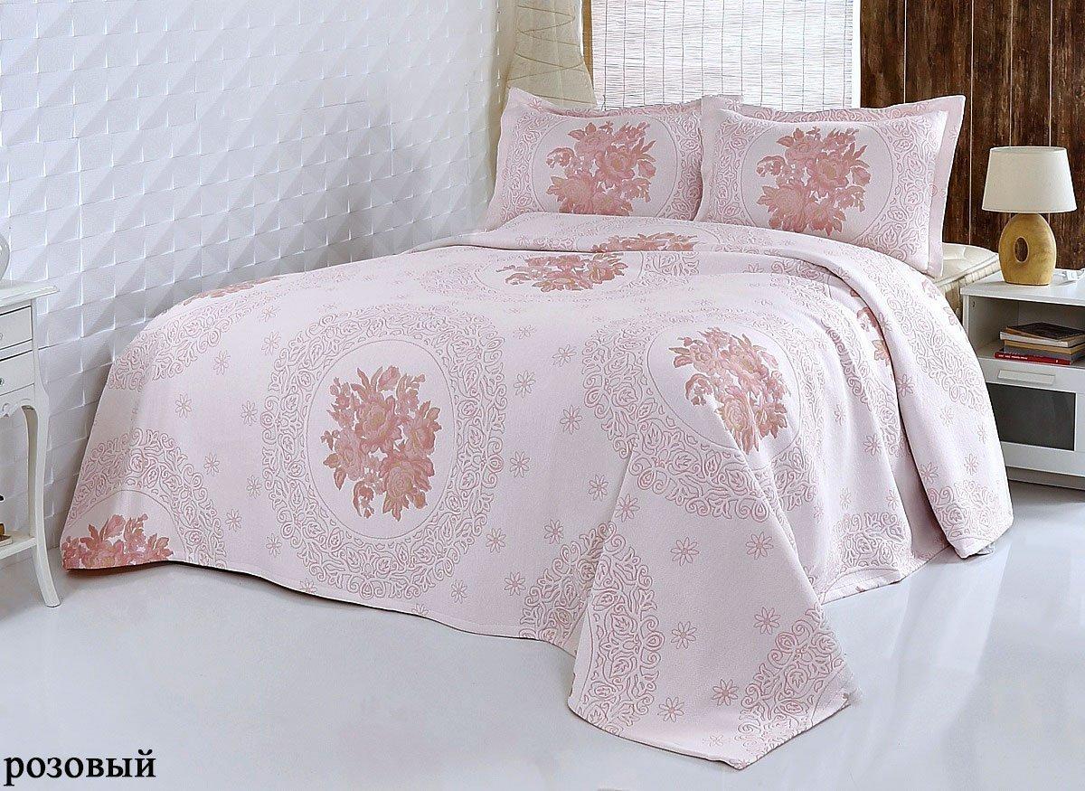 Покрывало с вышивкой, с наволочками Buket розовый Modalin