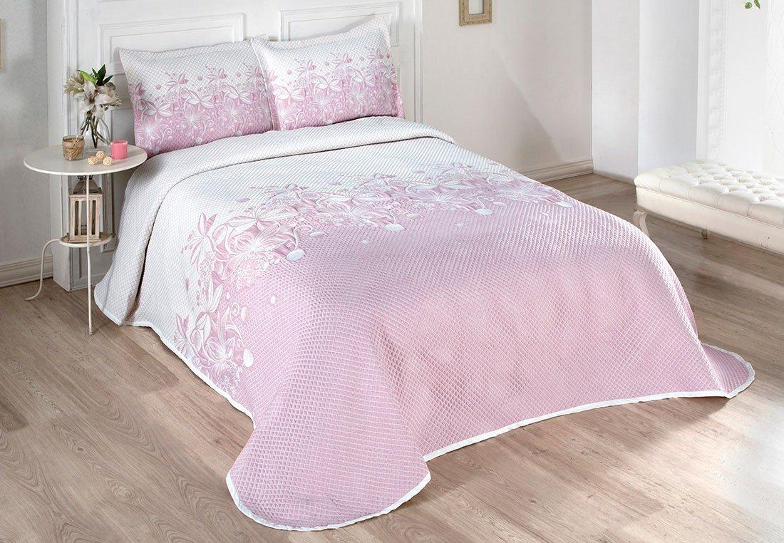 Жаккардовое покрывало с наволочками 3222 Floven розовый Karna