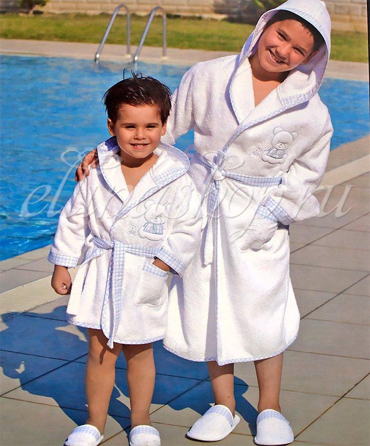 Alpha Детский банный комплект на мальчика: халат и тапочки