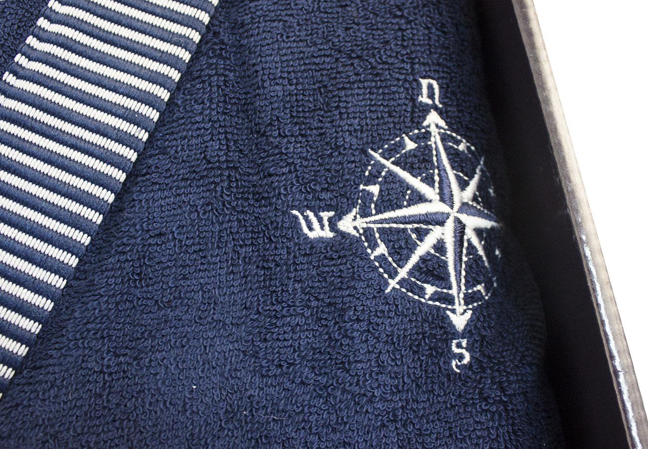 18e08299eb90 Мужской махровый халат с капюшоном + тапки Marine Club темно-синий Maison  Dor рис.