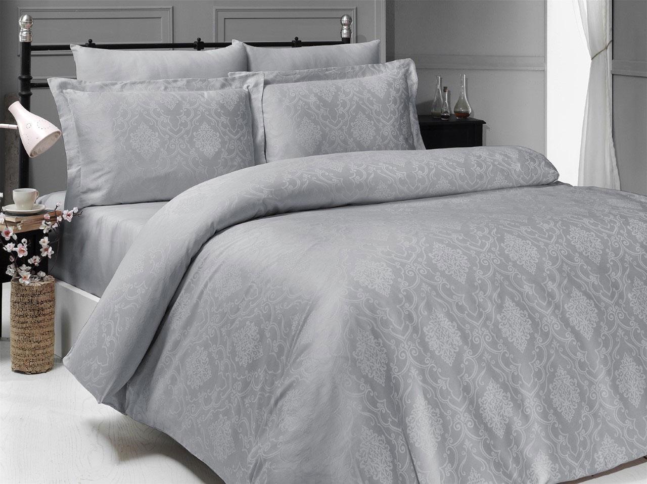 Комплект белья из сатин-жаккарда 10497 Dedria серый Doco