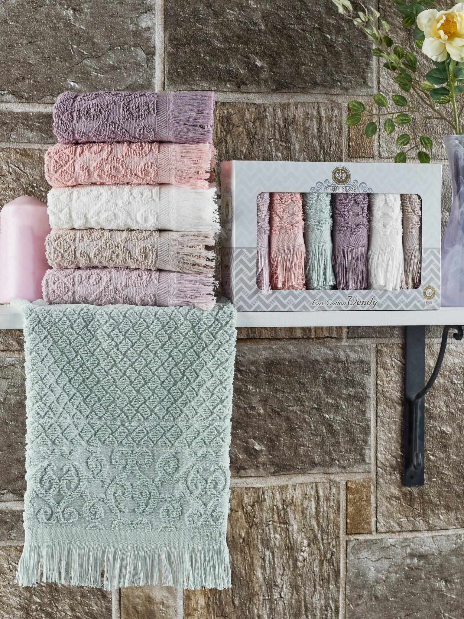 Махровые жаккардовые полотенца с бахромой 30х50 (6 шт) 10643 Wendy Philippus