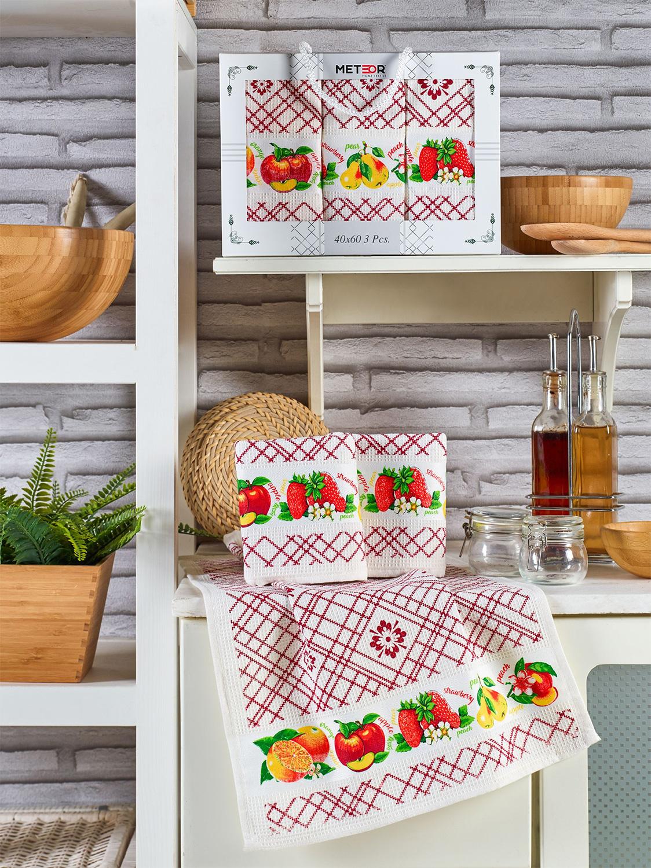 Комплект вафельных полотенец с вышивкой 40x60 (3 шт) 11003 Pietra Meyve Meteor