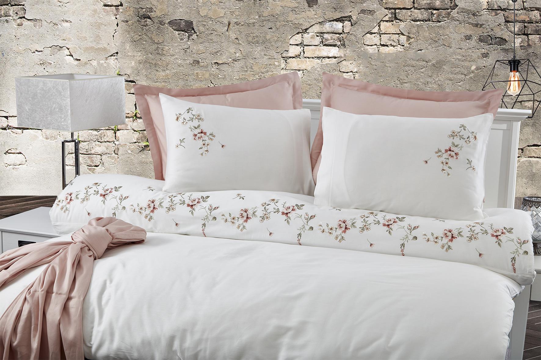 Сатиновое постельное белье с вышивкой 11425 Ahenk кремовый Doco