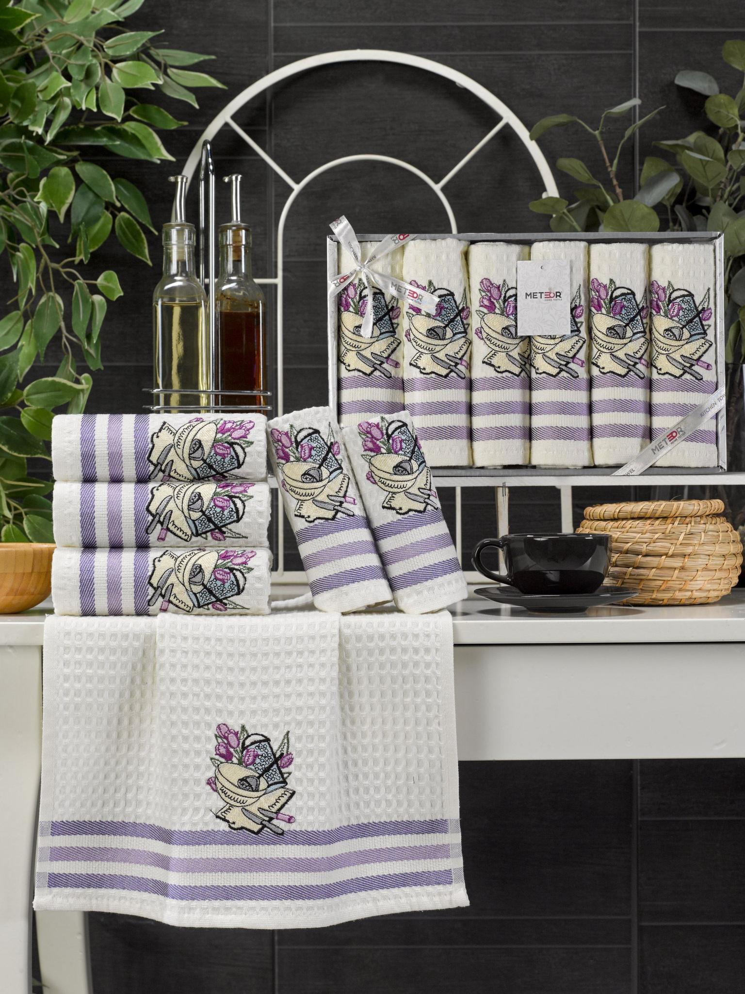 Комплект вафельных полотенец с вышивкой 35x45 (6 шт) 11467 Lux simona V1 Meteor