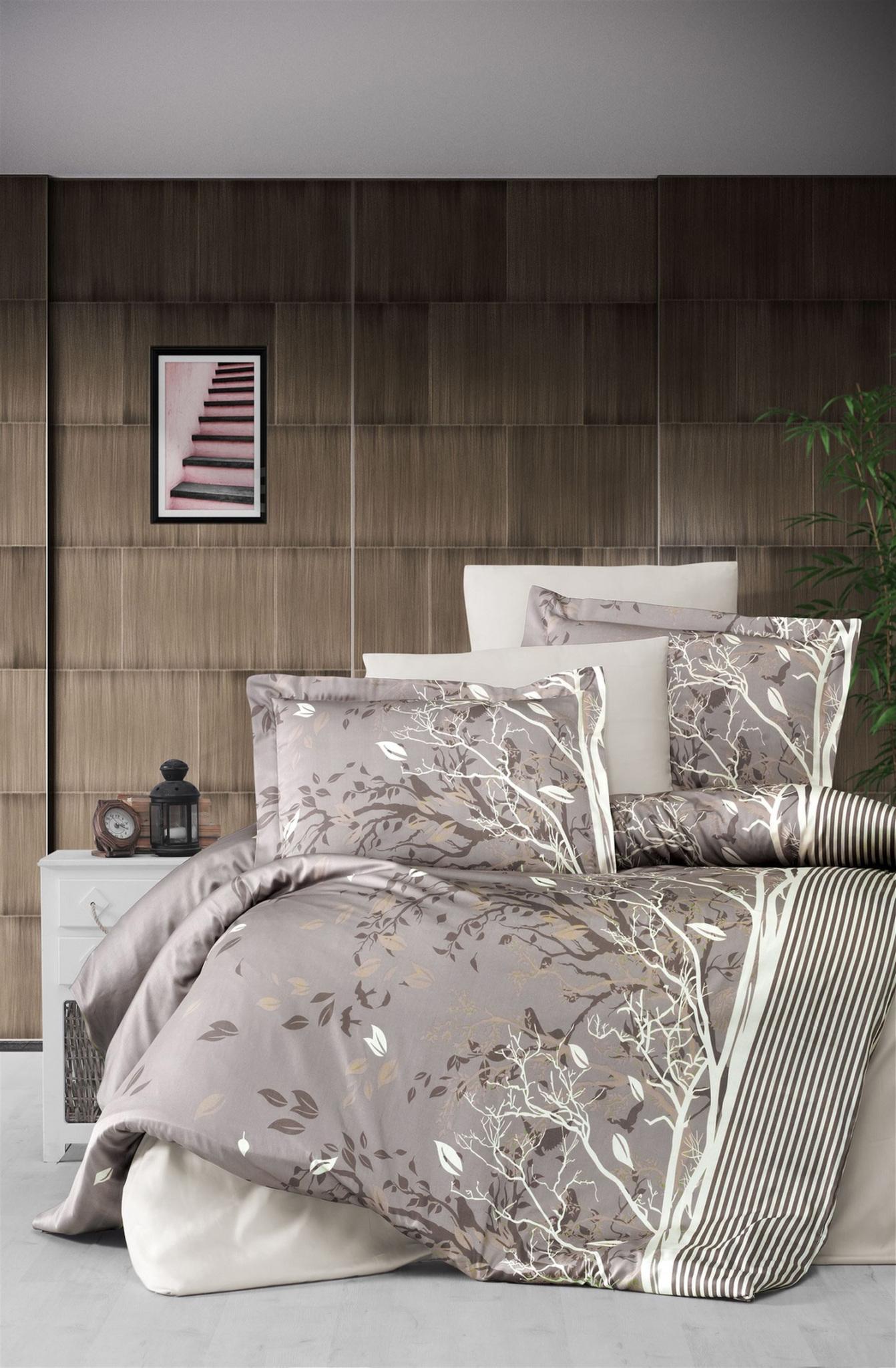 Комплект сатинового постельного белья 11476 Living коричневый Doco