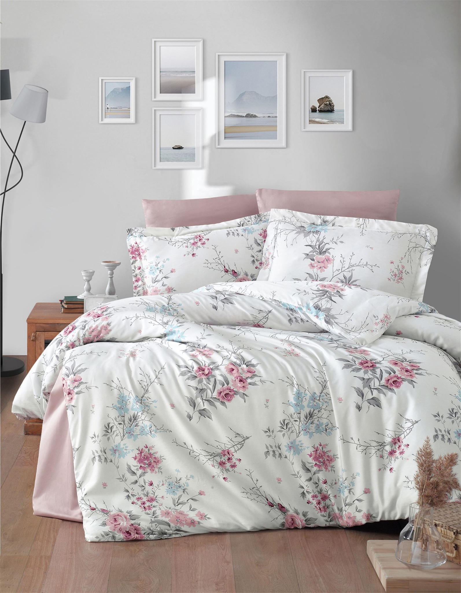 Комплект сатинового постельного белья 11479 Leena пудра Doco