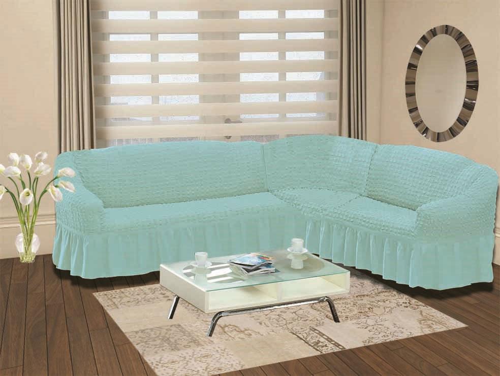 Чехол на пятиместный угловой диван правосторонний бирюзовый Bulsan  Karna