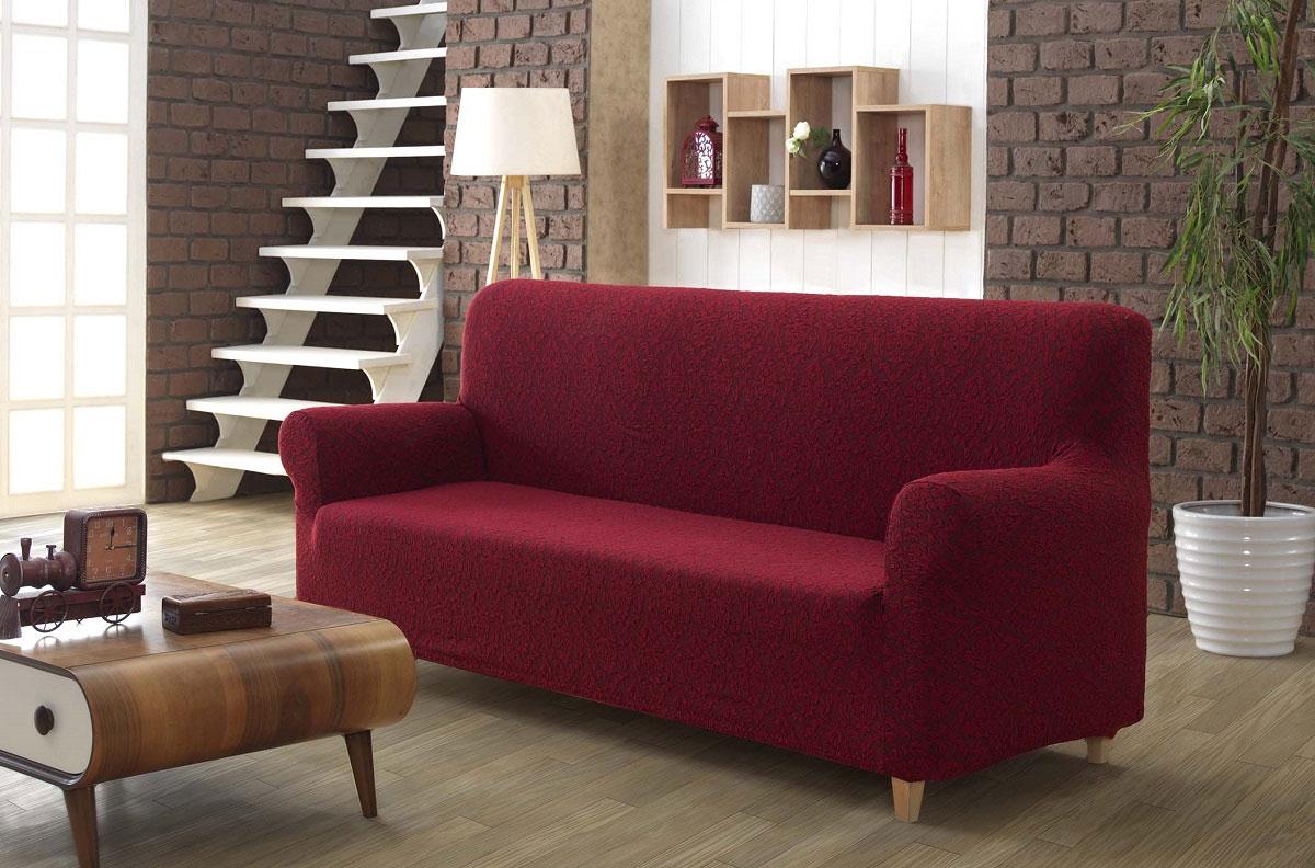 Чехол для 2-х местного дивана без юбки 2685 Milano бордовый Karna
