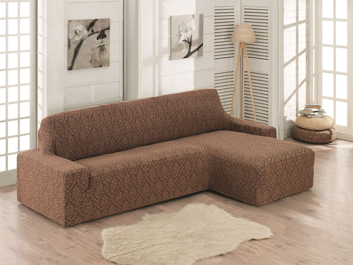 Чехол для углового дивана правосторонний Milano коричневый Karna