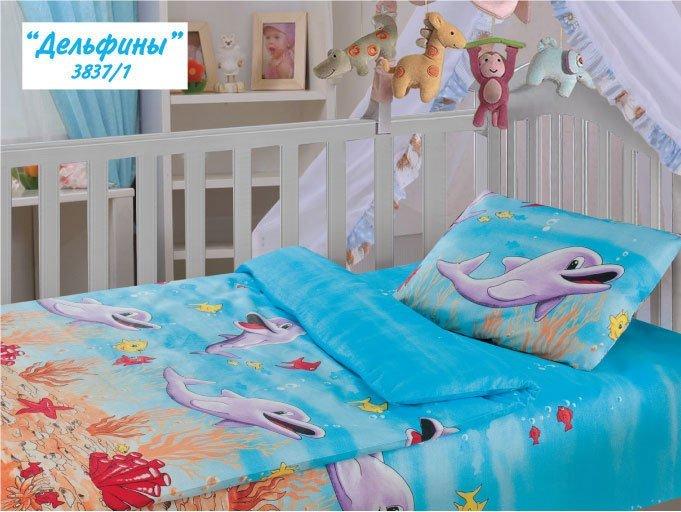 Дельфины - детское белье в кроватку Облачко