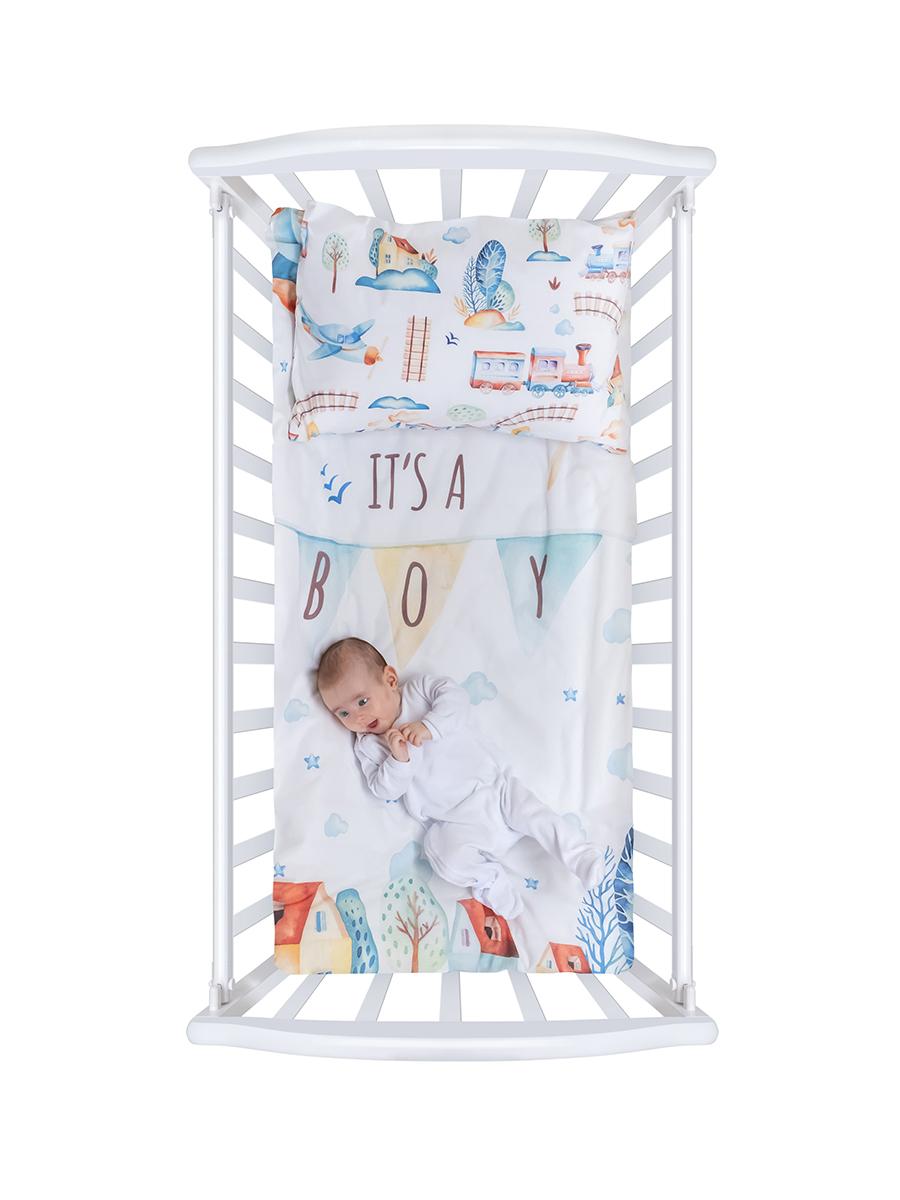 Белье в кроватку из бязи с простыней на резинке Облачко It's a boy Нордтекс