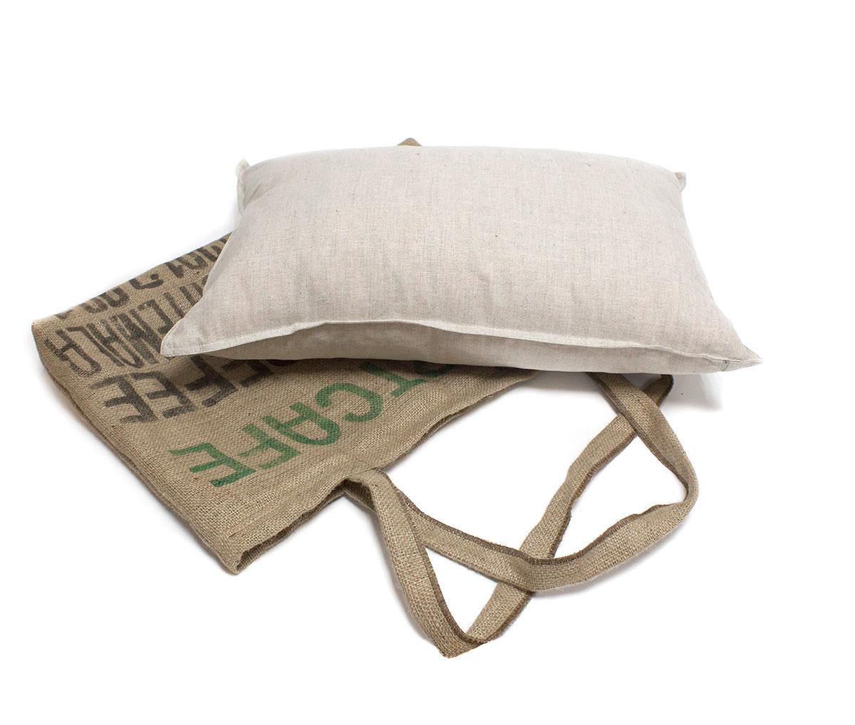 Льняная подушка с кофейными зернами Кофе-комби Лика