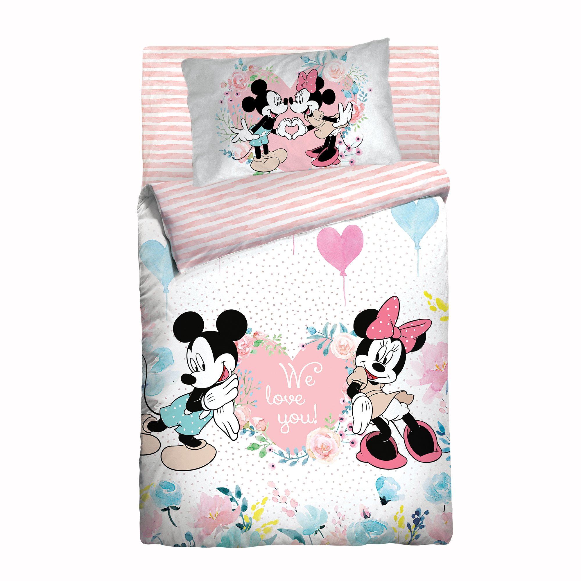 Белье в кроватку из бязи с простыней на резинке Облачко Mickey and Minnie Нордтекс