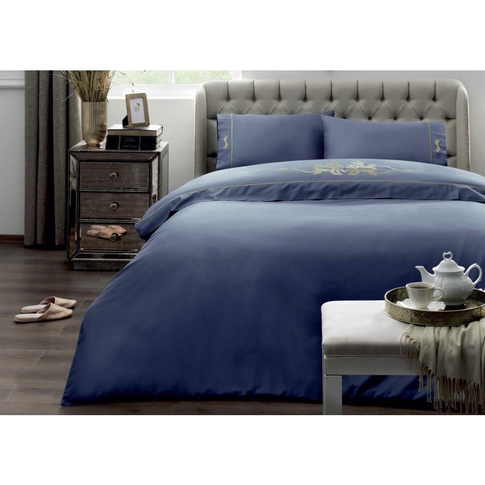 Постельное белье из сатина Imperial серо-голубой Tivolyo