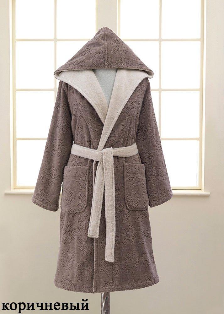 Женский махровый халат с капюшоном Leaf Soft cotton