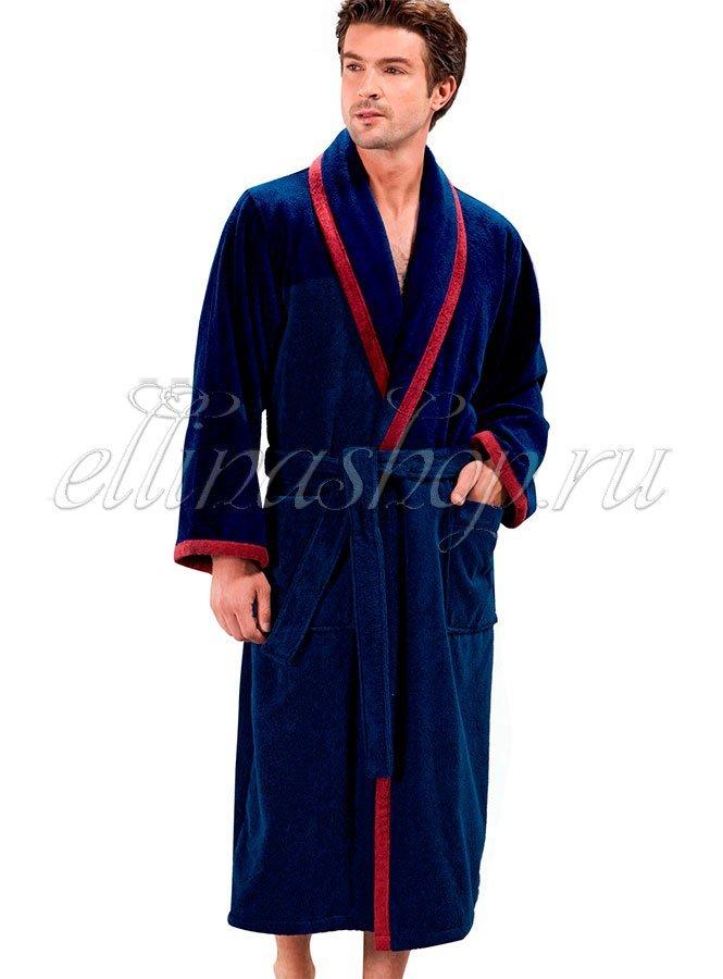 Prestige синий Мужской махровый халат Soft Cotton