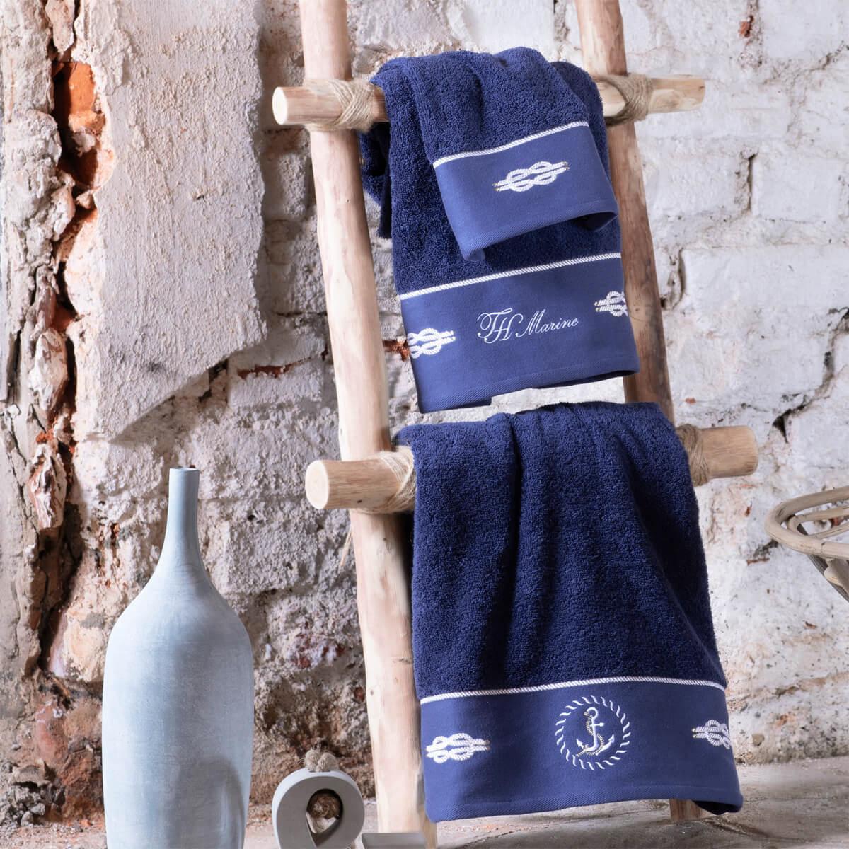 Комплект полотенец с вышивкой 30x50 (3 шт) Anchor синий Tivolyo
