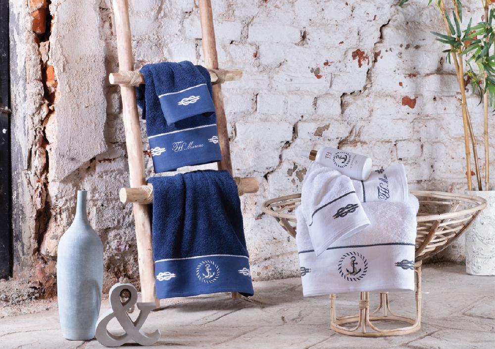 Комплект полотенец с вышивкой (30x50, 50x100, 75x150) + ароматический спрей Anchor Tivolyo