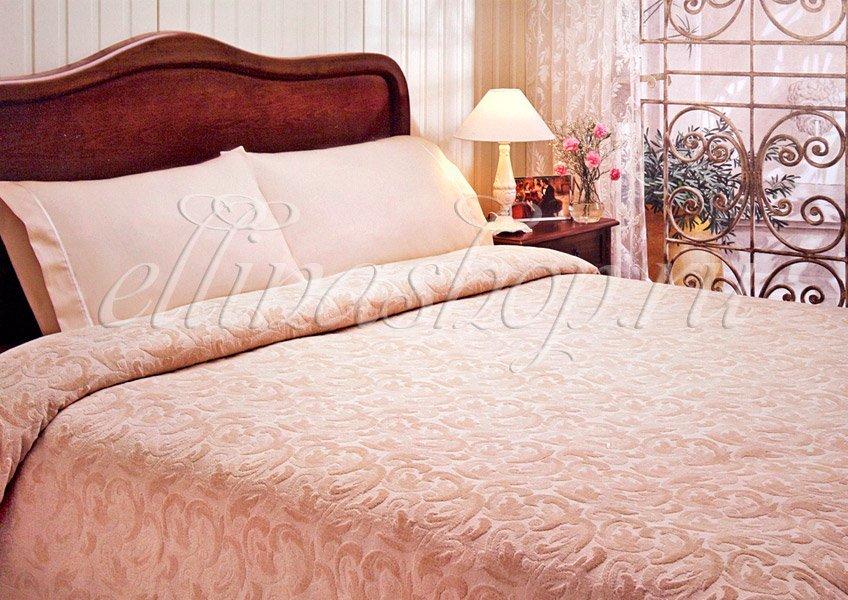 Baroc персиковый - комплект белья с жаккардовой простыней