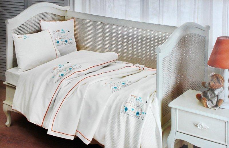 Детское белье в кроватку Beep bebe крем-бирюза Tivolyo