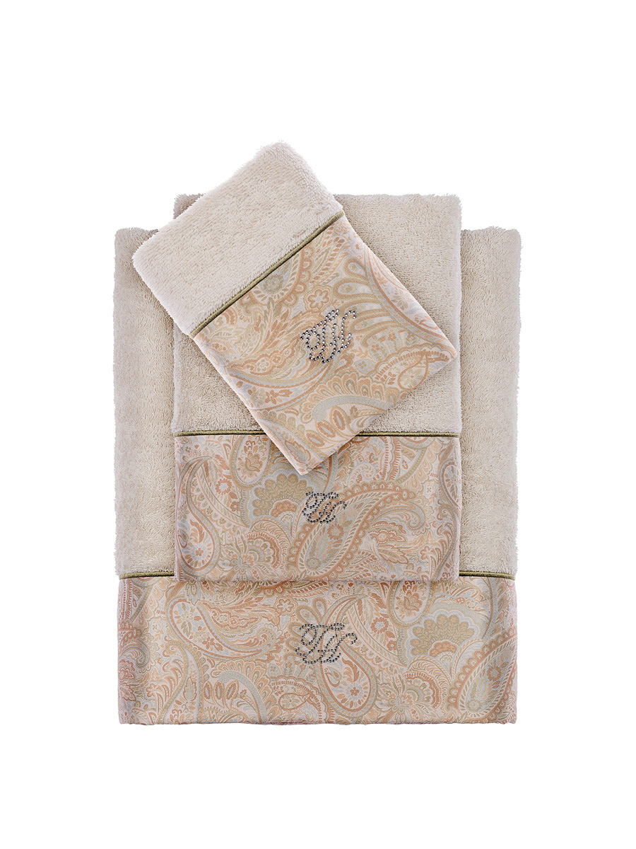 Комплект полотенец со стразами (30x50, 50x100, 100x150) Etto кремовый Tivolyo