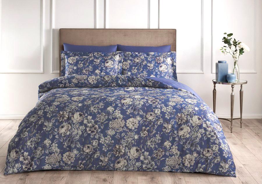Постельное белье из сатина де Люкс Fresh Rose синий Tivolyo