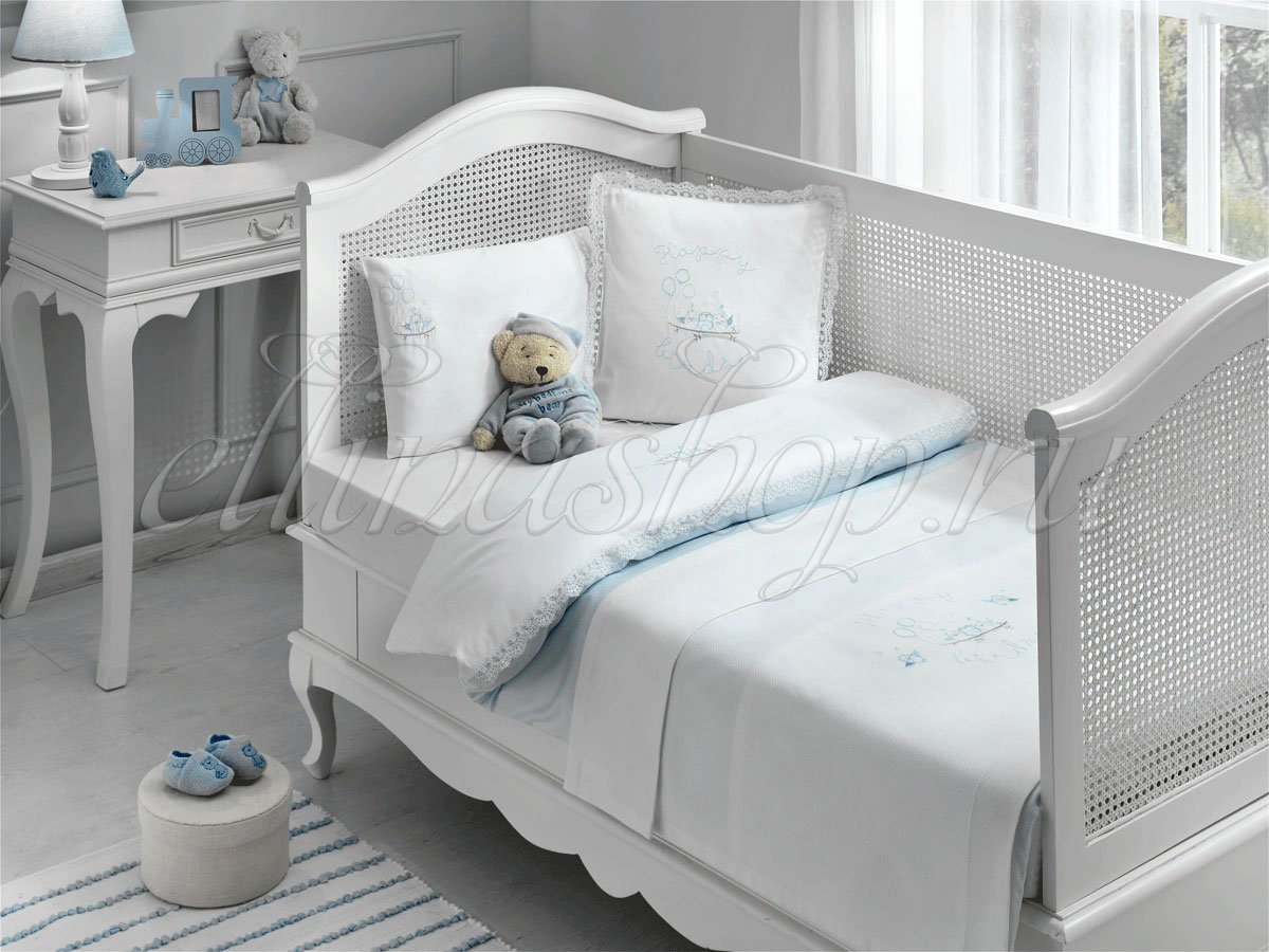 Happy bebe голубой детское белье в кроватку Tivolyo