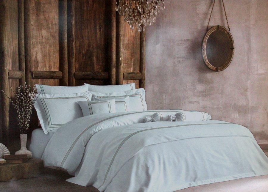 Комплект белья сатин люкс с вышивкой Line бирюзовый Tivolyo