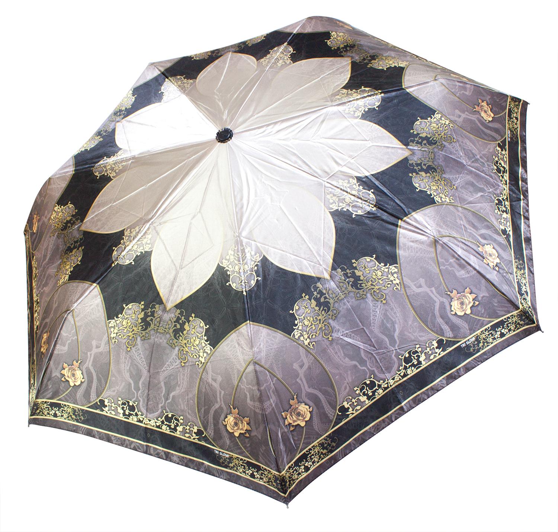 Сатиновый женский зонт L3762 Узоры пудра-черный (полный автомат) 116 см Три слона