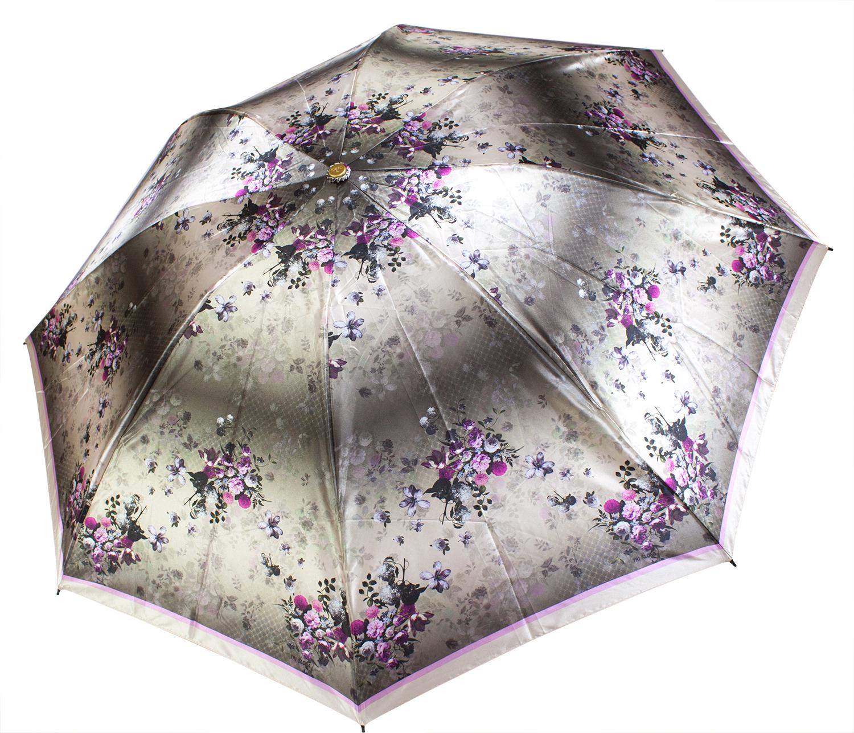 Сатиновый зонт-наоборот L3800 Цветы (полный автомат) 116 см Три слона