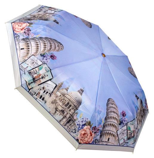 Зонт женский из эпонжа L3801 Пизанская башня (полный автомат) 116 см Три слона