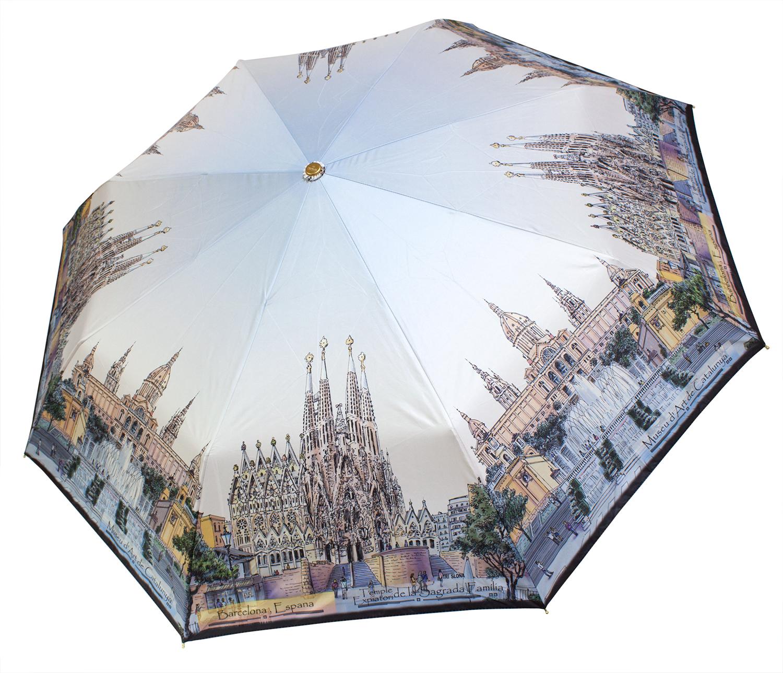 Женский зонт из эпонжа L3833 Барселона (полный автомат) 116 см Три слона
