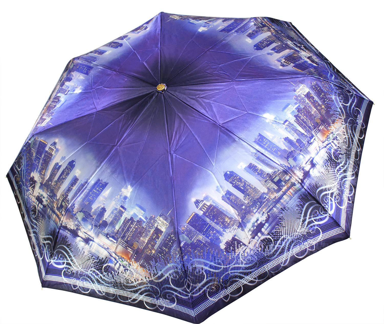 Зонт из фотосатина L3835 Городские высотки (полный автомат) 116 см Три слона